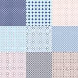 在蓝色和白色的几何无缝的种族背景收藏 库存照片
