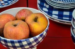 在蓝色和白色碗的红色苹果 库存图片