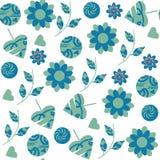 在蓝色和绿色的摘要幻想花卉无缝的样式 免版税库存图片