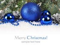 在蓝色和银的圣诞节 免版税库存图片
