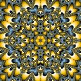 在蓝色和黄色的太阳花卉标志黑暗的向日葵瓦片坛场 免版税库存照片