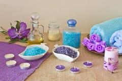 在蓝色和紫罗兰色颜色的温泉构成 免版税图库摄影