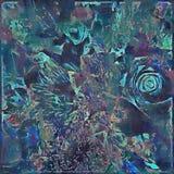 在蓝色和绿色的大胆的抽象花卉被绘的设计 免版税图库摄影