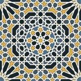 在蓝色和黄色的蔓藤花纹无缝的样式 库存例证