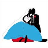 在蓝色和黑风格化的已婚夫妇供以座位的 库存照片