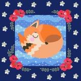 在蓝色圆点背景的睡觉狐狸在一个美好的花卉框架 孩子的补缀品样式 极大箭头的收藏 向量 库存例证