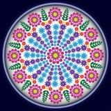 在蓝色圈子的花 免版税图库摄影