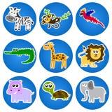 在蓝色圈子的逗人喜爱的动物。 免版税库存图片