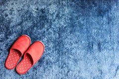 在蓝色地毯地板软性席子的红色拖鞋鞋子 库存图片