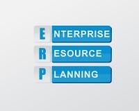在蓝色块的ERP,平的设计 库存图片