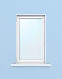 在蓝色墙壁上的白色塑料窗口 3d例证 免版税库存照片
