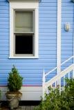 在蓝色墙壁上的窗口有植物和台阶的 免版税库存照片