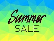 在蓝色多角形的背景的夏天销售,黄色,绿色 皇族释放例证