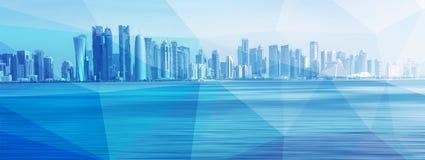 在蓝色多角形背景的未来派都市地平线 全球性通信和网络 向量例证