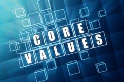 在蓝色大块玻璃的核心价值 免版税库存图片