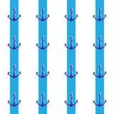 在蓝色小条的船锚手拉的样式 免版税库存照片