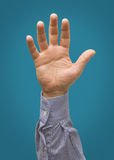 在蓝色小野鸭隔绝的被举的男性手 免版税图库摄影