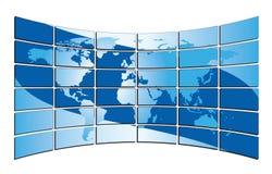在蓝色屏幕上的蓝色世界地图 库存照片