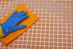 在蓝色手套的手 免版税库存照片