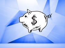 在蓝色抽象背景的存钱罐 免版税库存照片