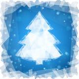 在蓝色方形的背景的冻圣诞树 免版税库存照片