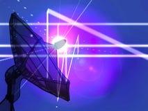 在蓝色未来派背景背景的一个抛物面天线与光亮线的 图库摄影