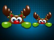 在蓝色格子背景的圣诞节驯鹿 图库摄影