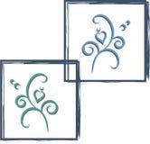 在蓝色框的装饰品 免版税库存图片