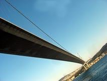 在蓝色桥梁长的海运间 免版税库存图片