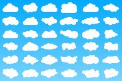 在蓝色梯度背景的36个不同动画片云彩象 向量例证