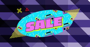 在蓝色椭圆上销售图形,带磁带播放器和紫色条纹背景4k 库存例证