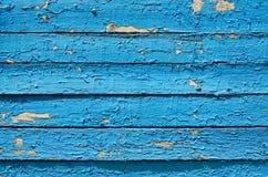 在蓝色油漆绘的木板条背景  免版税库存图片
