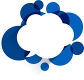 在蓝色泡影的白皮书云彩 免版税库存照片