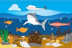 在蓝色海洋下 免版税库存图片