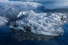 在蓝色湖关闭的弗罗斯特冰,冰岛 免版税库存照片