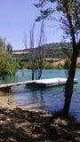 在蓝色湖2的跳船 库存照片