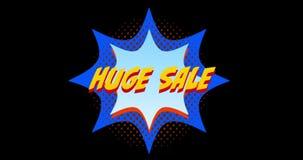 在蓝色爆炸作用4k前面的词巨大的销售 库存例证