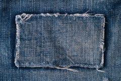 在蓝色牛仔裤的补丁 免版税库存图片