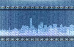 在蓝色牛仔裤背景的纽约都市风景 皇族释放例证