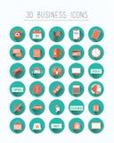 在蓝色的三十个企业象 库存图片