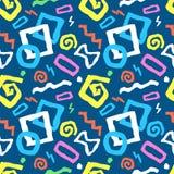 在蓝色的五颜六色的无缝的乱画艺术样式传染媒介例证 向量例证