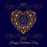 在蓝色的传染媒介金回纹装饰花卉心脏 愉快的情人节假日 向量例证
