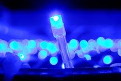 在蓝色的圣诞灯 免版税库存图片