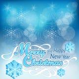 在蓝色的圣诞节背景 库存图片