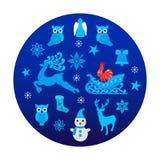 在蓝色的圣诞节背景 免版税图库摄影