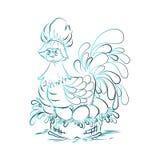 在蓝色的复活节彩蛋的鸡 图库摄影