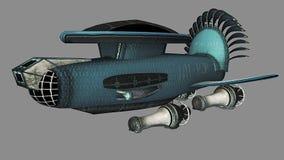 在蓝色的太空飞船 库存图片