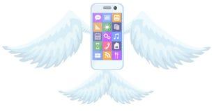 在蓝色的手机飞行飞过例证 皇族释放例证