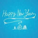 在蓝色的新年快乐线性书法手拉的题字 向量例证