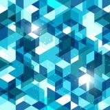 在蓝色的无缝的几何背景 抽象向量模式 库存图片